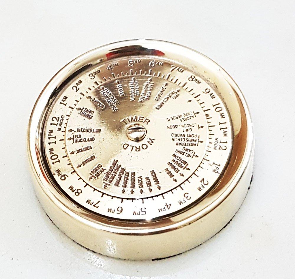 Nautical Marineコンパスソリッド真鍮世界タイマーカレンダーコンパス B06XD18QQ3