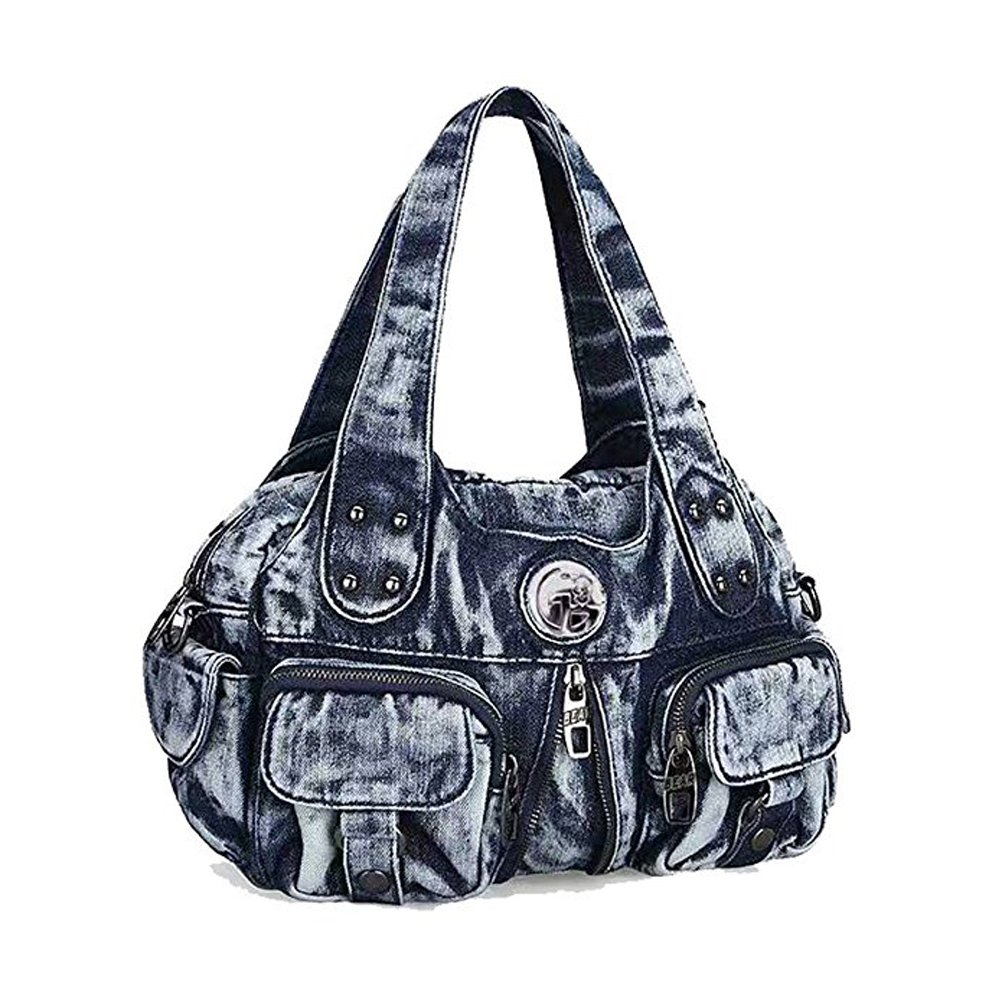Donalworld Women Vintage Denim Handbag Hobos Totes Pattern1