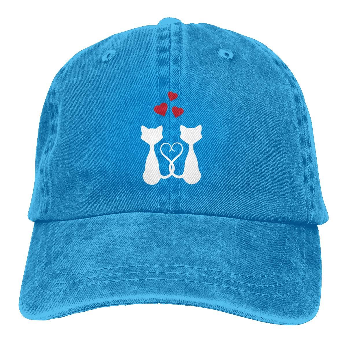 Hearts Cat Fashion Adjustable Cowboy Cap Baseball Cap for Women and Men