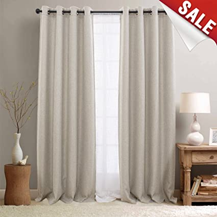 Linen Textured 95 Inch Long Room Darkening Beige Blackout Curtains For Bedroom Moderate Light Reducing
