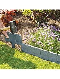 Jannyshop PP Stone Effect Plastic Foldable Garden Edging Plant Flower  Border Edging Fence (10PCS)
