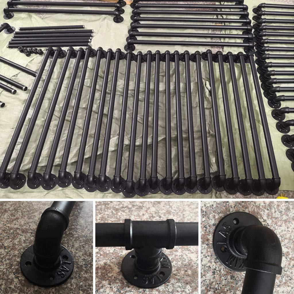 Kit Complet 30-600cm Noir Rampe descalier pour int/érieur et ext/érieur Fini Fer Rail de s/écurit/é Mural Main Courante