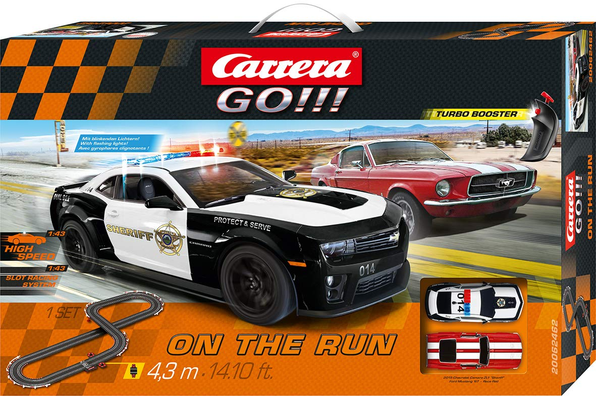 Amazon.com: Carrera GO!!! On The Run 1:43 Scale Electric Slot Car Race Track Set Ford Mustang Vs Chevy Camaro: Toys & Games