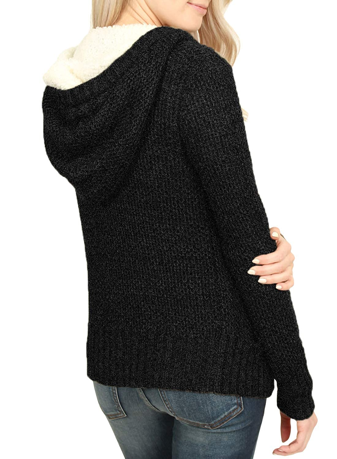 FIYOTE Womens Hooded Cardigans Button Down Cable Knit Sweater Coat Outwear with Pockets