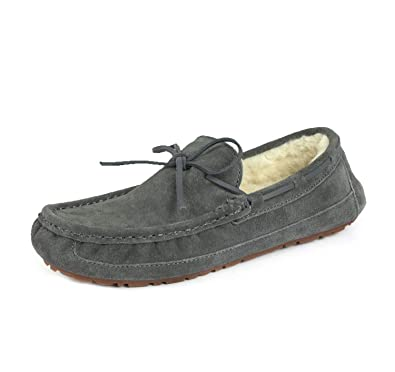33ffe053840ef0 DREAM PAIRS Men's Au-Loafer-02 Grey Faux Fur Slippers Loafers Shoes Size 6.5