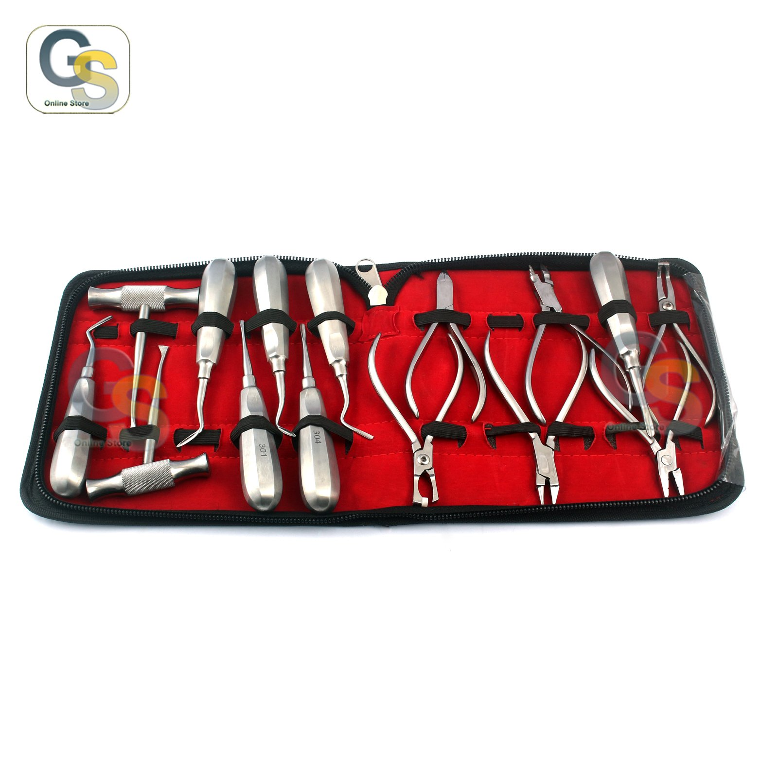 G.S - ASSORTED SET OF 15 PCS DENTAL INSTRUMENTS ELEVATOR, WIRE CUTTER AND CHISEL BEST QUALITY