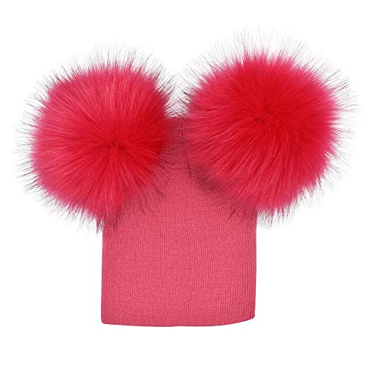 b511c4a7b49 Image Unavailable. Image not available for. Color  WeiYun Infant Baby Girls  Boys Crochet Knit Winter Warm Faux Fur Ball Hat Beanie Cap