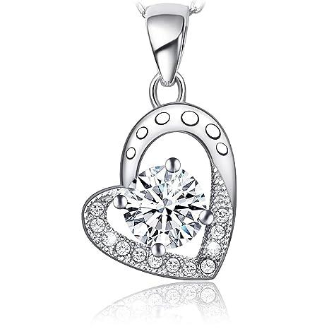 d85a3685e2d6 atmoko collar mujer colgante de corazón de  quot Forever Lover y fantasía  en plata 925