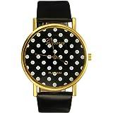 Montre Bracelet Quartz Point Pois Sur Cadran Bijoux Décor Wrist Watch Femme Mode