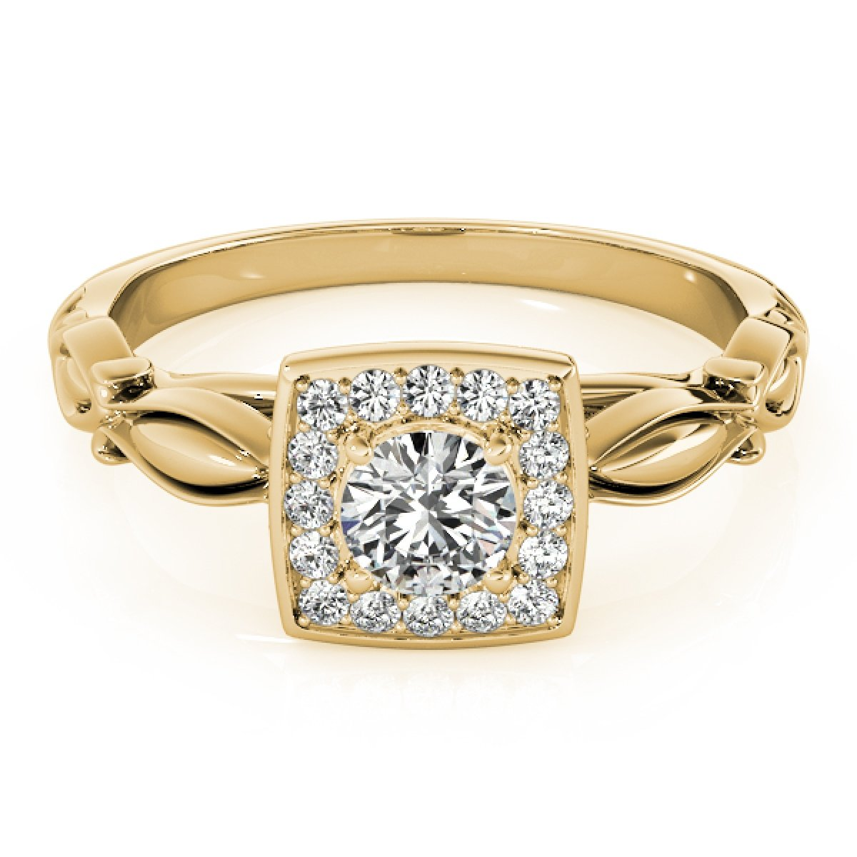 0.50 Ct Diamond Halo Square Cut Engagement Ring In 14K Yellow Gold by MauliJewels (Image #2)