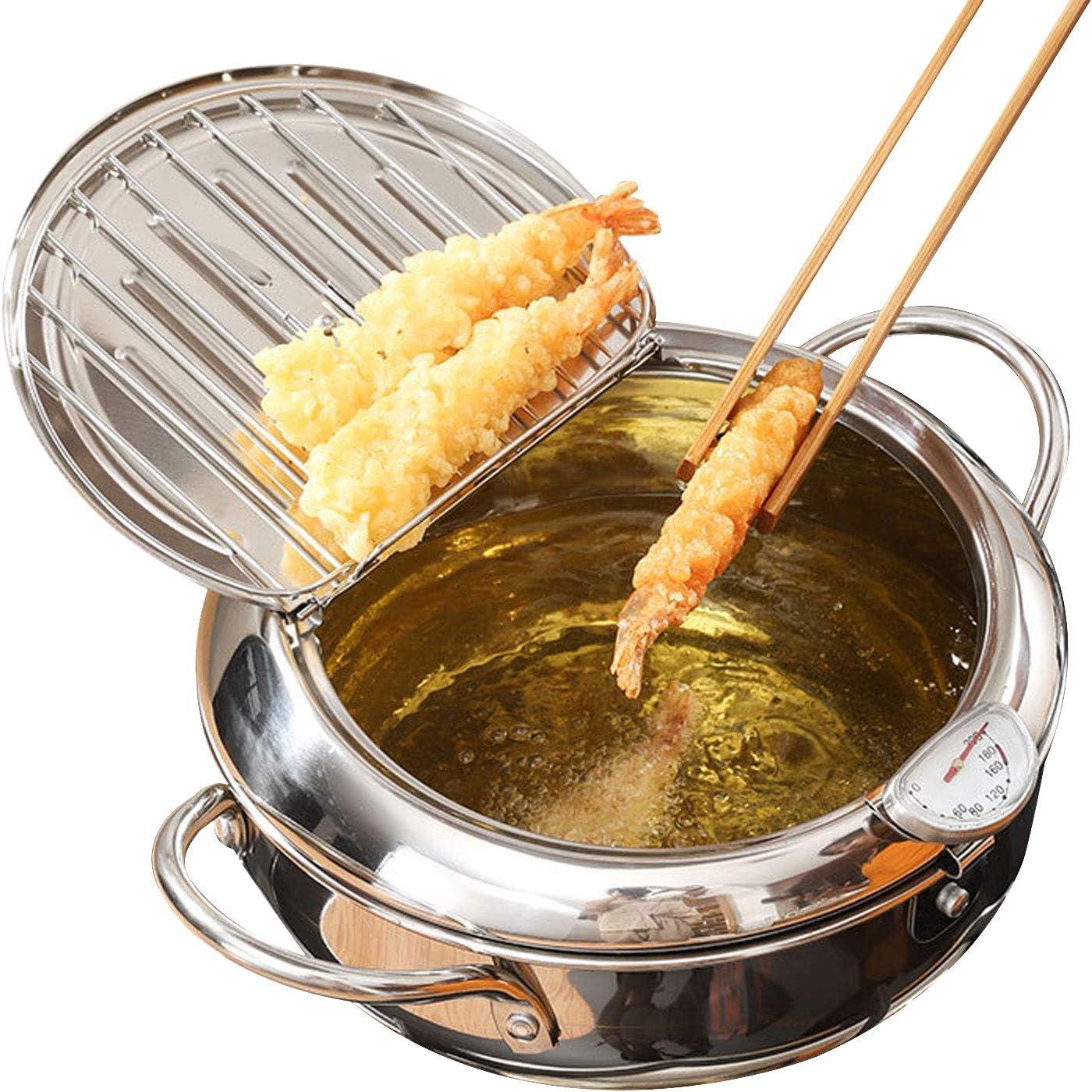 FONDDI Tempura Deep Fryer, Stainless Steel Deep Frying Pan, Temperature Control Chicken Pot Cooking Tool Kitchen Accessories