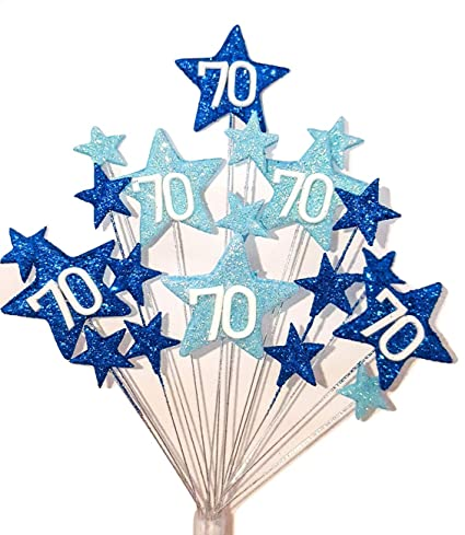 Incredible Star Age 70Th Birthday Cake Topper Decoration In Shades Of Blue Personalised Birthday Cards Vishlily Jamesorg