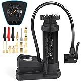 ASYXL Mini Bike Foot Pump Portable Inflator Ball Pump with Pressure Gauge,17PCS Brass Presta & Schrader Valve Nozzle Adapter,