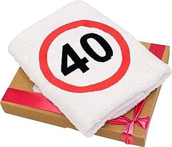 Idée Cadeau Pour Femme 40 Ans.Serviette Anniversaire 40 Ans Avec Broderie Signe De La