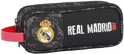 Real Madrid- Manualidades/Escolares Unisex Adulto Estuche portatodo Doble Black 811924-513, Multicolor, Talla única (SAFTA 1): Amazon.es: Oficina y papelería