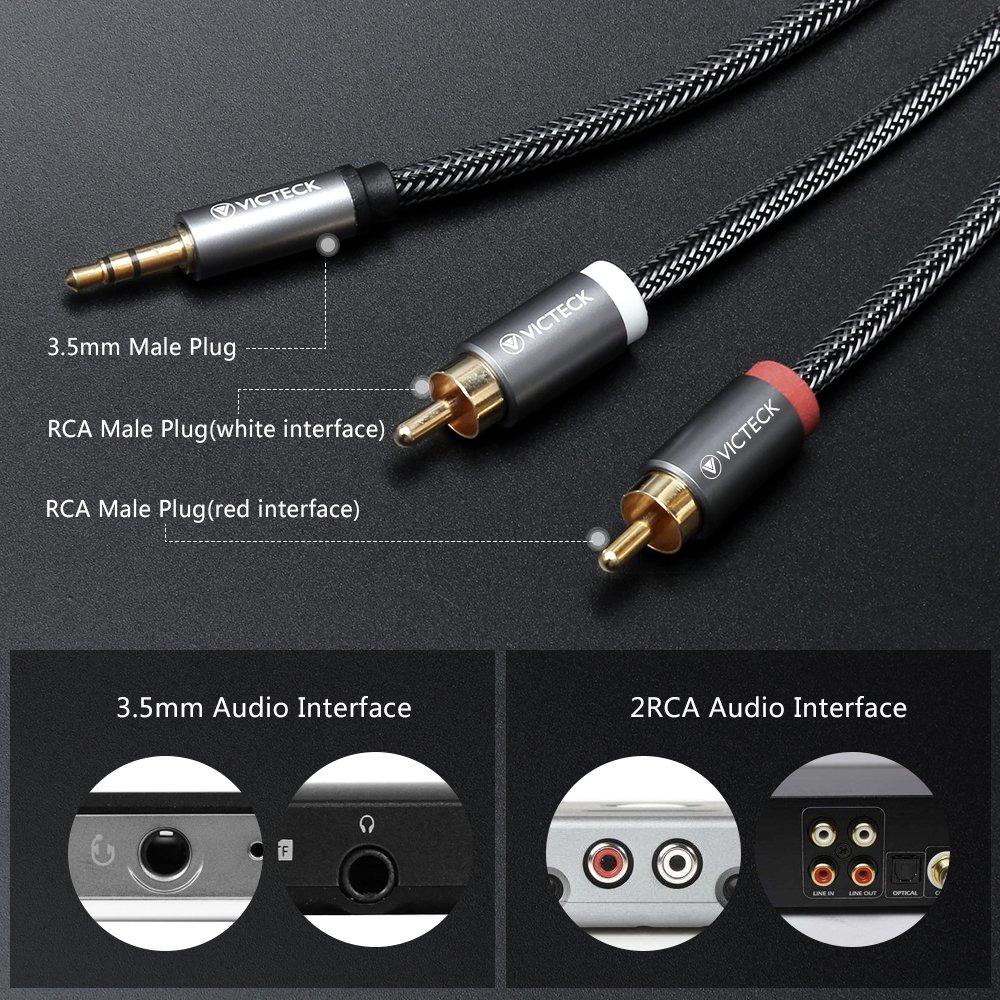 Cable Audio RCA,Victeck Nylon Trenzado 3,5mm Jack Macho a 2 RCA Macho Conectores Estéreo Cable (3m): Amazon.es: Electrónica