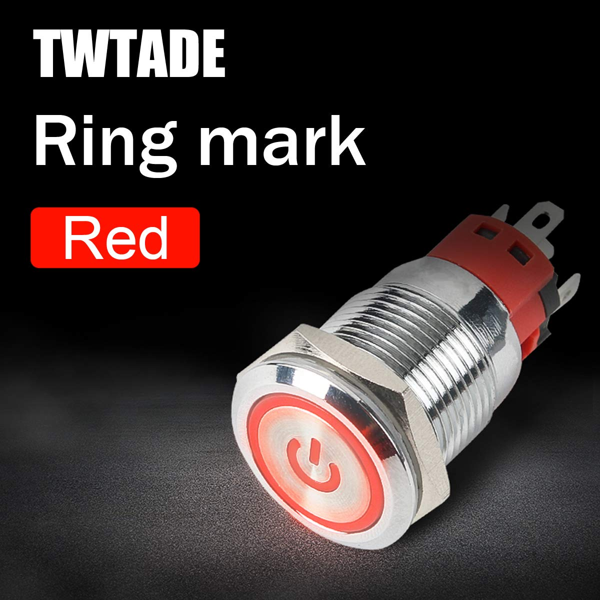 5 Year Warranty TWTADE 19mm IP65 Waterproof Latching Power Metal Push Button Switch 3//4 5A DC12V Stainless Steel Shell Yellow LED Ring Switch 1NO 1NC with Wire Socket Plug YJ-GQ19BF-D-L-Y