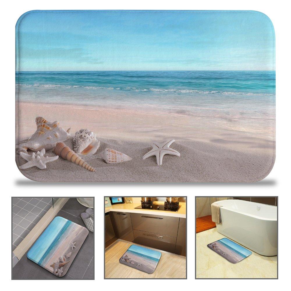 QIYI Bath Mat Rug Super Soft Non-Slip Machine Washable Quickly Drying Antibacterial,for Office Door Mat,Kitchen Dining Living Hallway Bathroom 16''x24''-Beach Shell