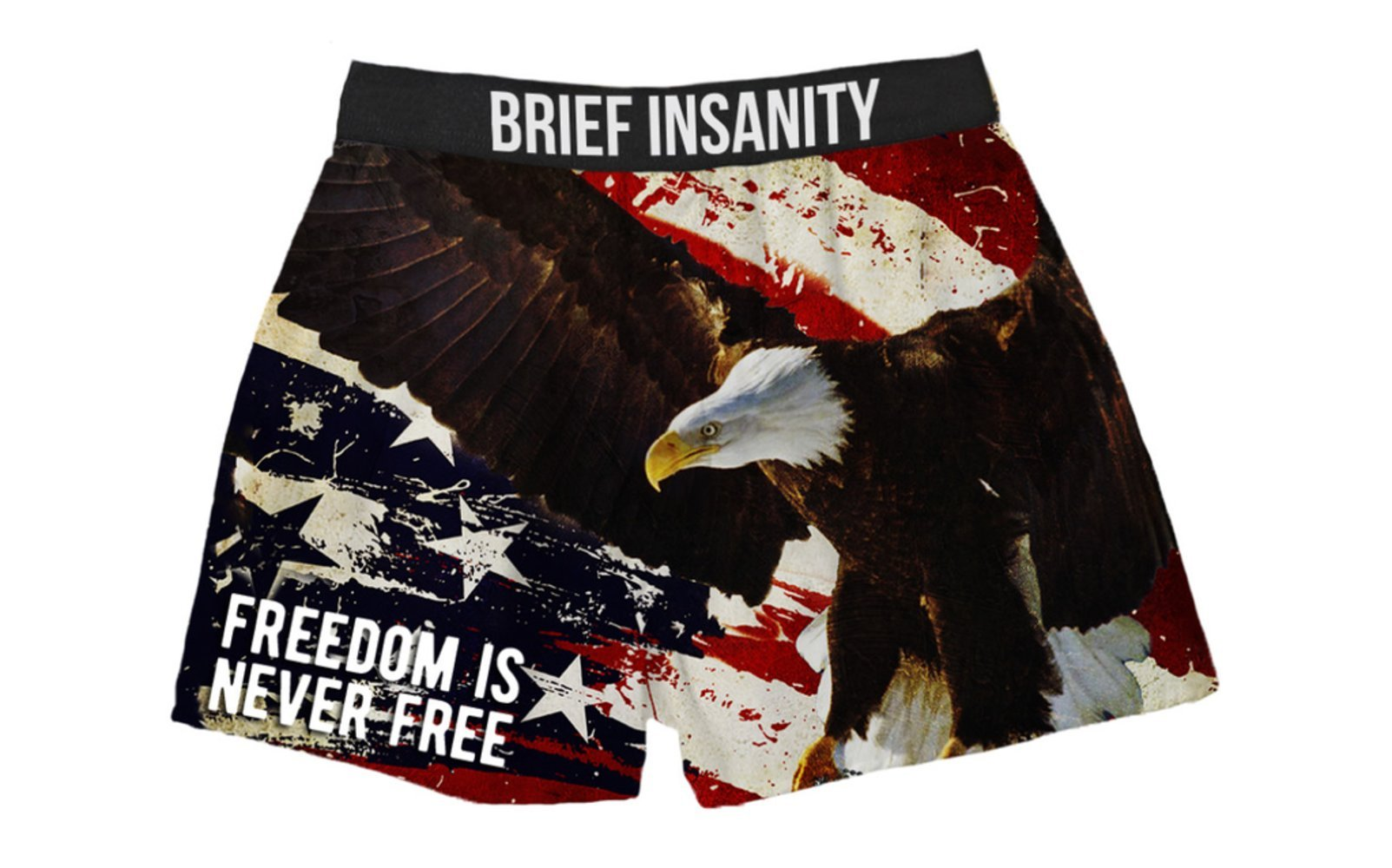 Brief Insanity Freedom is Never Free Patriotic Boxer Shorts Gifts for Men