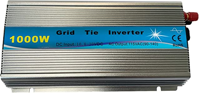 KRXNY 1000W Grid Tie Inverter Pure Sine Wave Stackable MPPT Solar Power 10.8-30V DC Input 110V AC Output for 18V Solar Panel