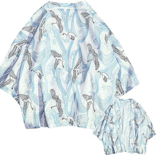 SKYLULU✿✿Fashion Retro Shirt Tops Lovers Individuality Print Top Blouse Kimono Hot Spring Clothing