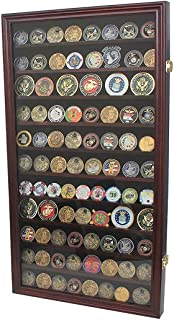 product image for flag connections Large Military Challenge Coin Display Case Cabinet Rack Holder, Poker Chip, Geo Coin Display Cabinet (Mahogany Finish)