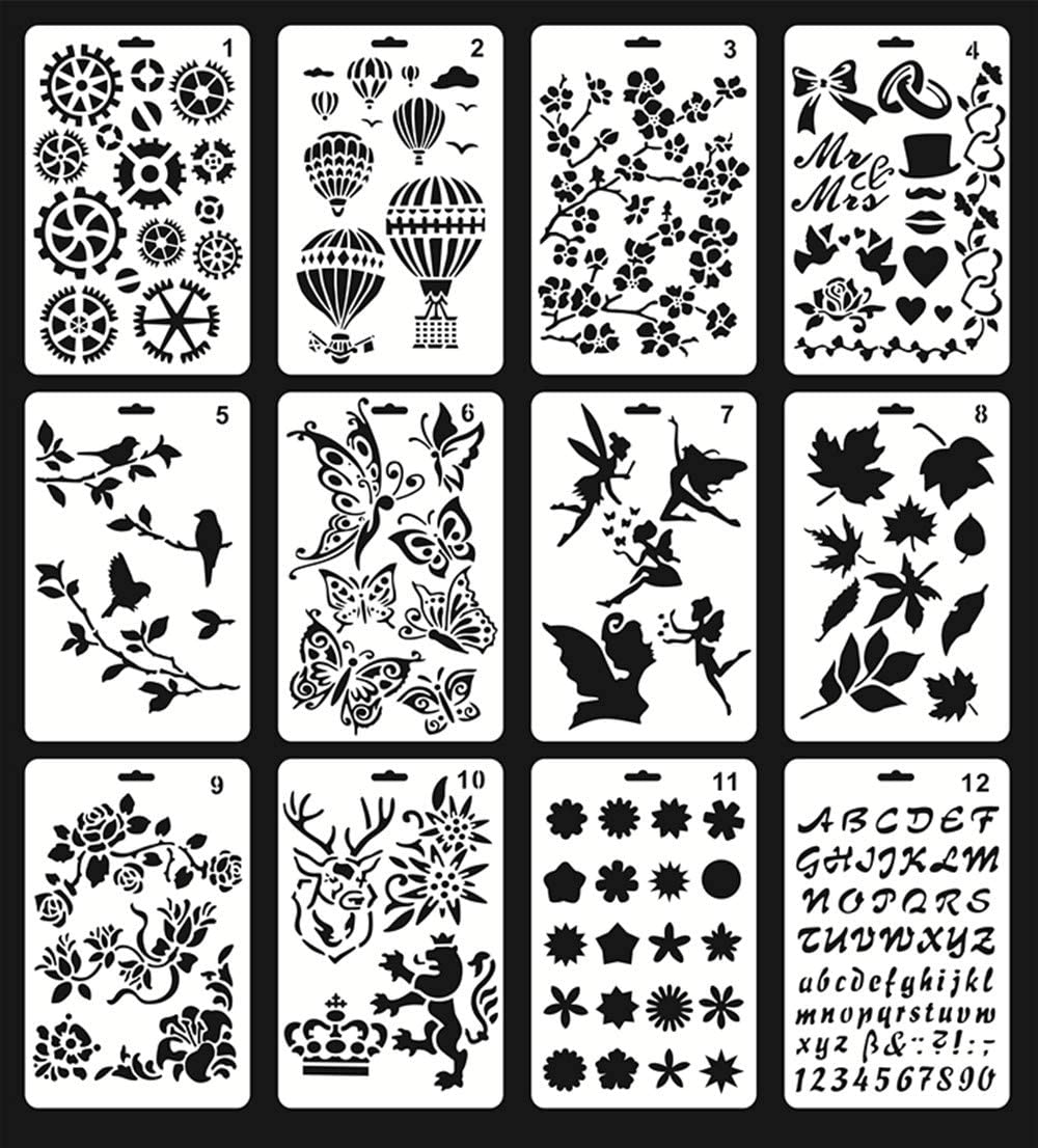 Mengcube Plastic Stencils for Painting, 12Pcs Journaling Stencils for Crafts 5.7x9.6 Inches