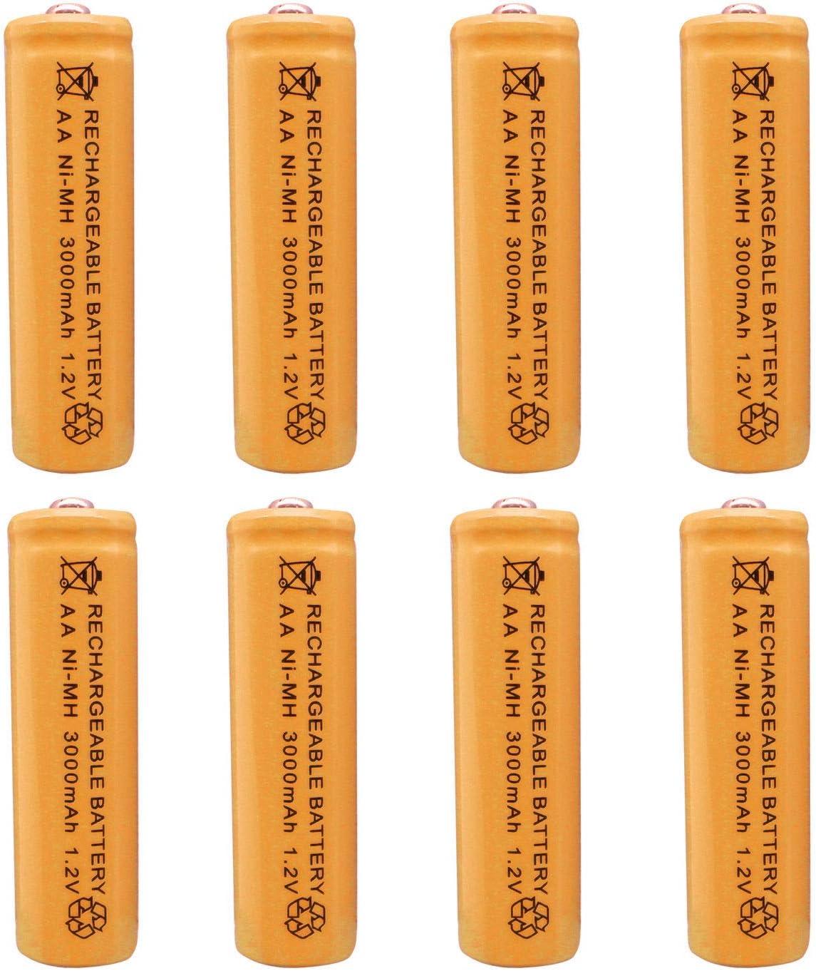 1.2V Ni-MH NiMH Rechargeable Battery Cell Light LED 8pcs AA 2A 3000 Actual 300mAh