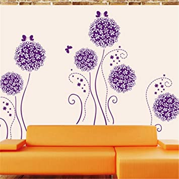 Wall Decal Large Flying Dandelion Violet Plant Vinyl Wall Stickers Home Living