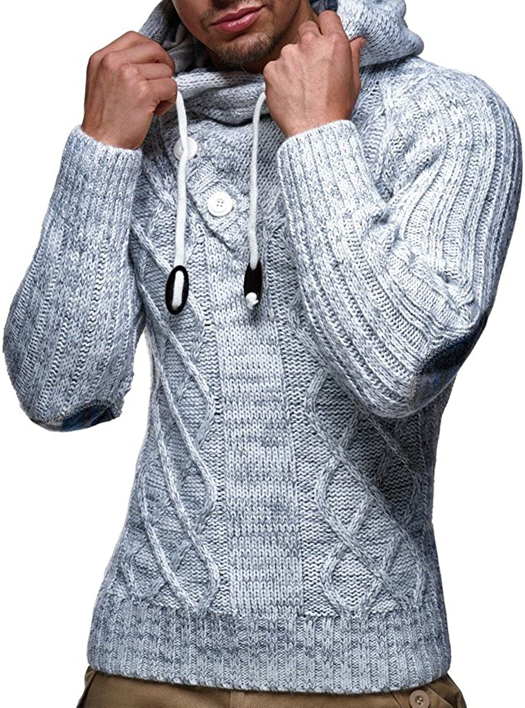 Leif Nelson pour des Hommes Pullover Pull /à Capuche Hoodie Pull en Tricot Sweatshirt Longsleeve Pull dhiver arr/êtez-Vous LN5290