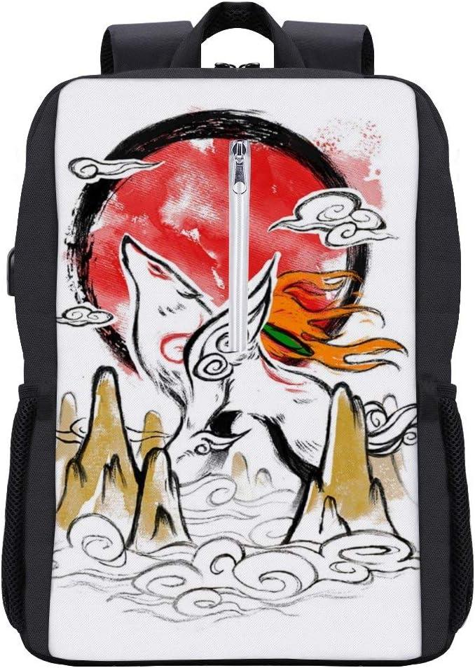 Okami Rising Sun Backpack Daypack Rucksack Laptop Shoulder Bag with USB Charging Port
