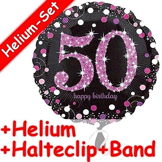 Redondo Globo * Happy Birthday 50 * + Helium Relleno + Clip ...