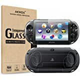 (4-Pack) 2 Front+2 Back Covers Screen Protectors for Sony PlayStation Vita 2000, Akwox 9H Tempered Glass Front Screen Protect