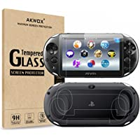 (4-Pack) Screen Protectors for Sony Playstation Vita 2000 with Back Covers, Akwox 9H Tempered Glass Front Screen…