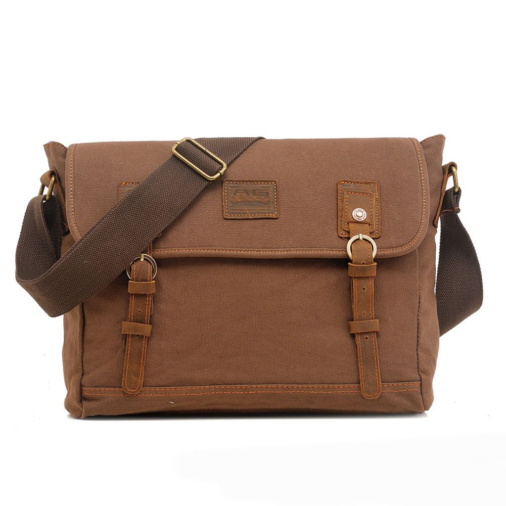 Aibag Mens & Womens Vintage Canvas Crossbody Shoulder Messenger Bags With Genuine Leather Deco