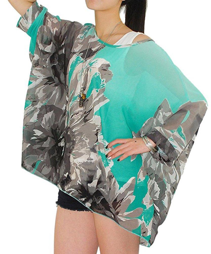 Wiwish Women's Bohemian Style Summer Beach Lagenlook Top Kimono Loose Waterfall Chiffon Kaftan Poncho Shirt,One Size,Tmclh257
