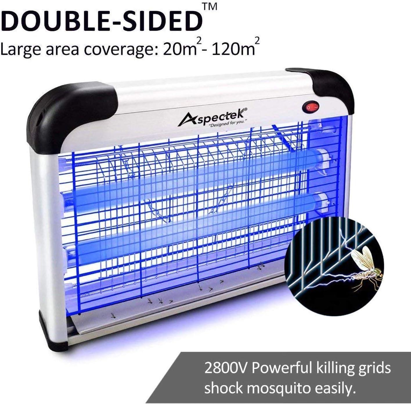 UK Plug ASPECTEK sancudos Lampara Mata Insectos Electrico- Matamoscas,polillas 30W UV Bombillas para su Hogar y Uso Comercial
