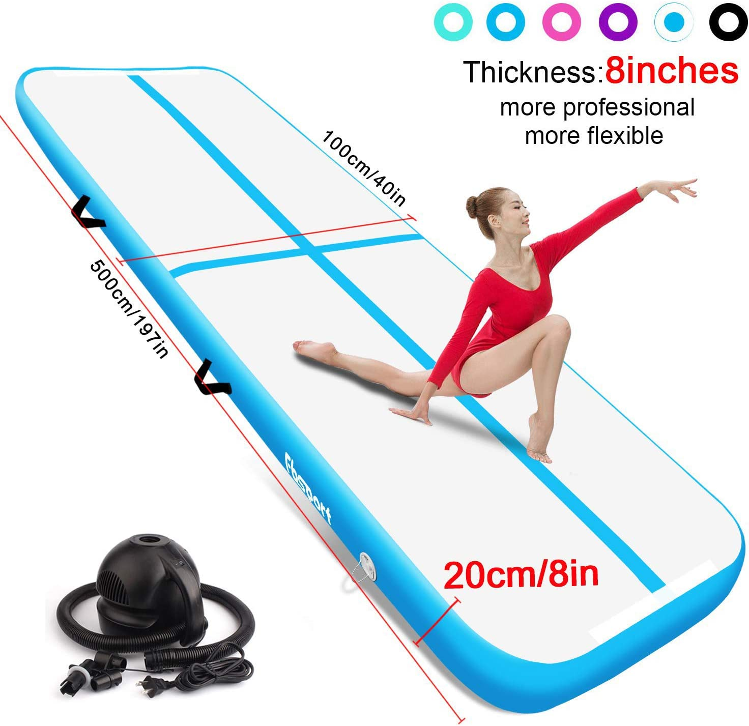 Home Floor FBSPORT 10//20CM thick airtrack Tumbling mat include 5 in 1 Inflatable Training Mats Set Length 1m//3m//4m//5m//6m//7m//8m Tumbling mat Tumbling,Parkour Inflatable Gymnastics airtrack with Electric Air Pump for Practice Gymnastics