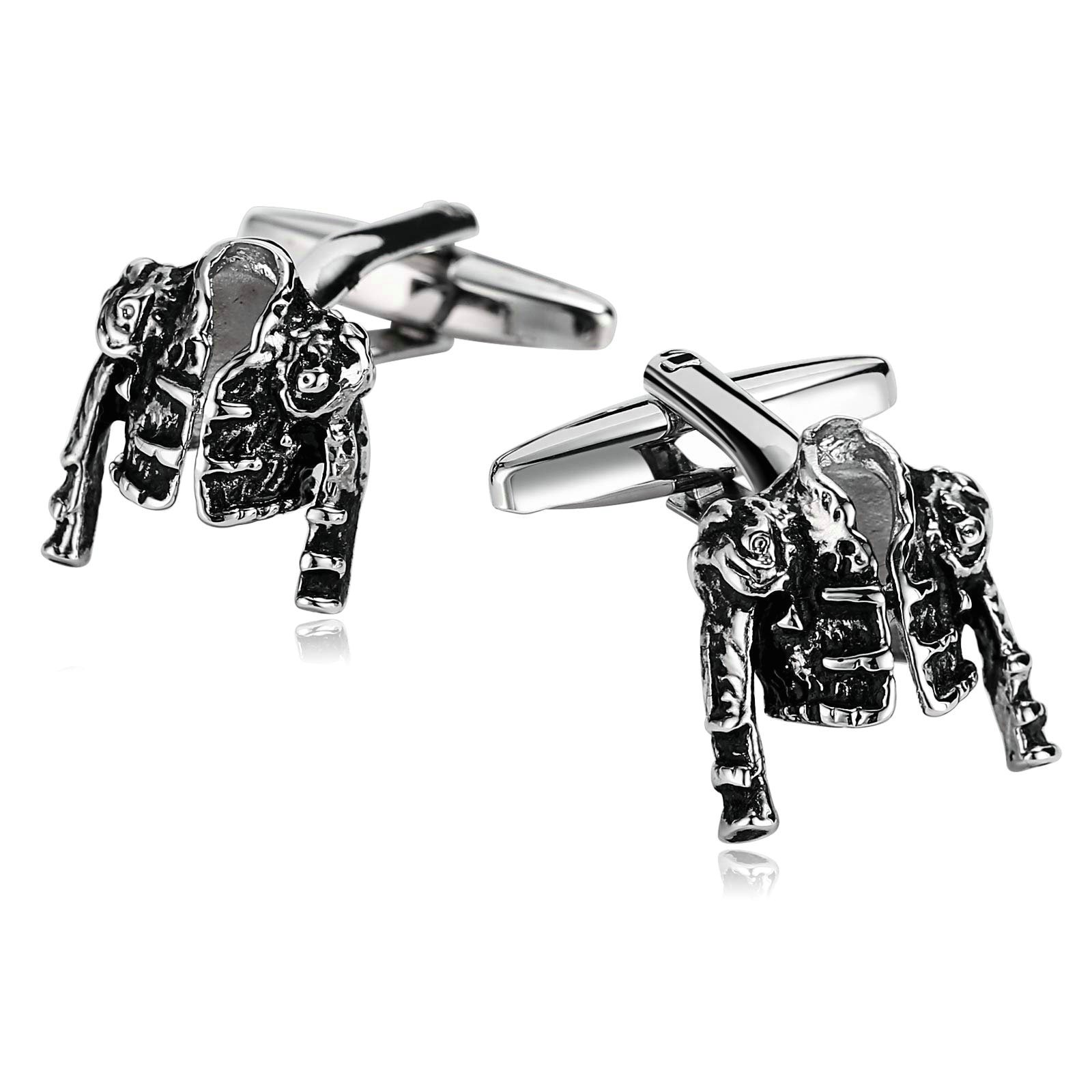Aooaz Cufflinks for Men Stainless Steel Clothes Jacket Vest Silver Black Accessories 1.5X1.5CM