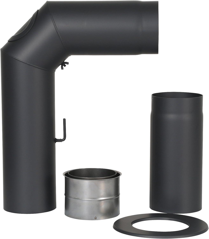 Kamino-Flam 331705 Senotherm Junta en /ángulo de 90/° para Tubos de Chimenea Color Negro 2 mm, con portezuela de 120 mm