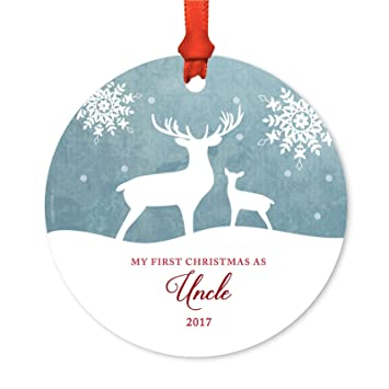 andaz press family metal christmas ornament my first christmas as uncle 2018 rustic deer
