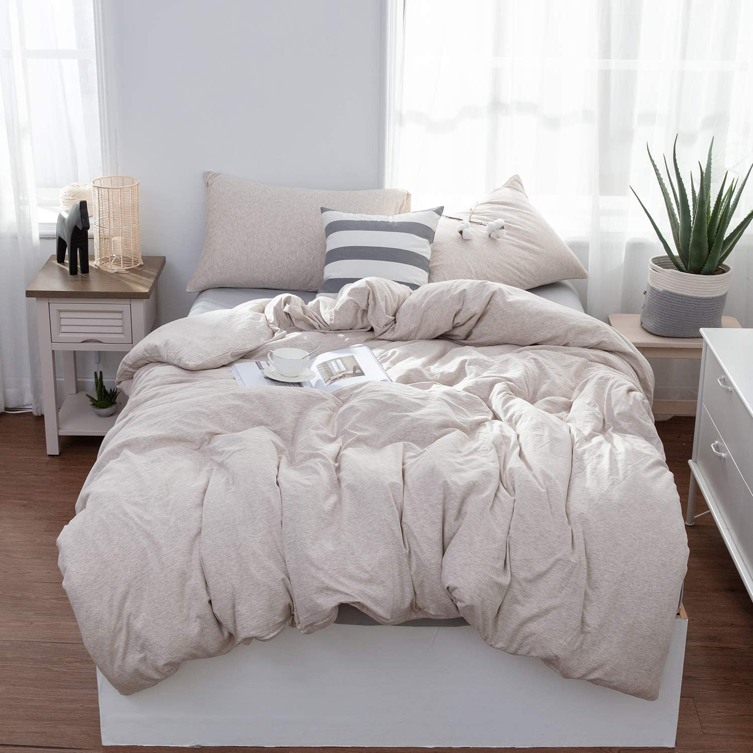 LIFETOWN Jersey Knit Cotton Duvet Cover Twin, 1 Duvet Cover and 2 Pillowcases, Simple Solid Design, Super Soft and Easy Care (Twin/Twin XL, Light Coffee)