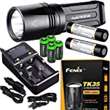 FENIX TK35 Ultimate Edition UE 2000 Lumen LED Tactical Flashlight with 2 X Fenix 18650 Li-ion rechargeable batteries, 4 X EdisonBright CR123A Lithium batteries, Charger bundle