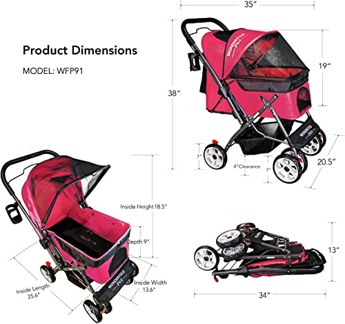 WONDERFOLD P1 Folding Pet Stroller Wagon for Dogs Cats, 4 Wheels, Zipperless Entry, Storage Basket, Cup Holder