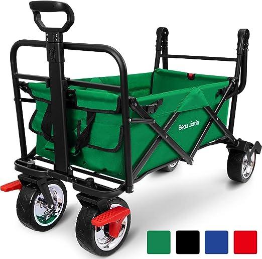 BEAU JARDIN Carretillas de Carro Plegable Con freno con Carro Plegable de Mano Carro Transporte para jardín Carro para Playa Carga hasta 80kg Verde: Amazon.es: Jardín