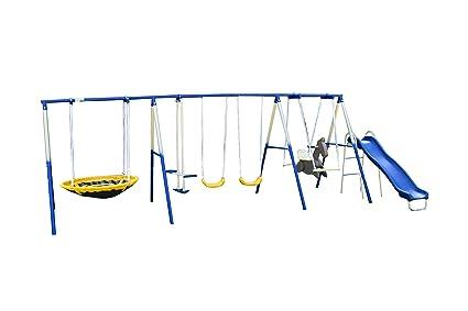 Amazon Com Sportspower Super 8 Fun Metal Swing Set Toys Games