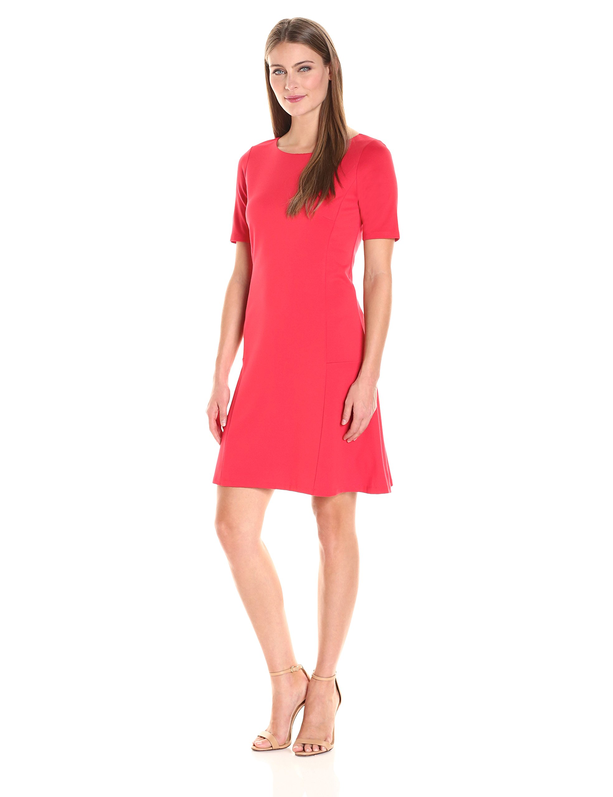 Ellen Tracy Women's Size Elbow Sleeve Flounce Dress, Tomato Red, Petite Small by Ellen Tracy