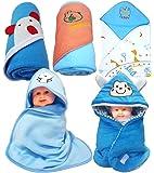 BRANDONN Fleece Newborn Hooded Baby Blanket, Free Size (Multicolour) - Pack Of 5