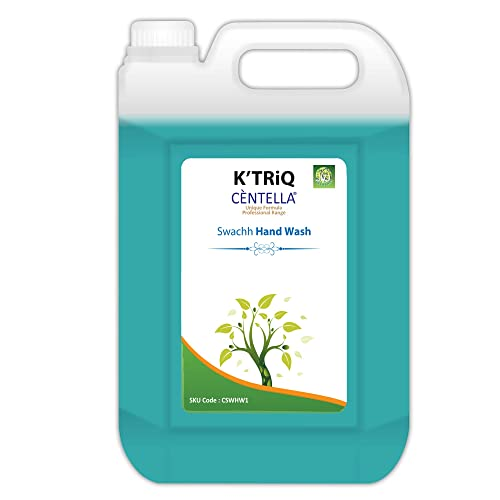 K'TRiQ Centella Swach Hand Wash Liquid Hand Cleanser - Kills 99.9% Bacteria & Germs [Domestic & Industrial Use] Heavily Soiled Hands/Oil or Greasy Hands Ready to Use Handwash - 5 Liter