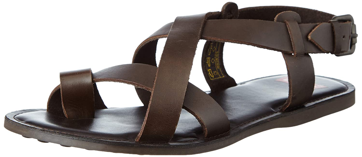 5245fb6c088 Levi s Men s Leather Brown Flip Flops Thong Sandals-6 UK India (39)(7 US)  (38104-0041)  Buy Online at Low Prices in India - Amazon.in